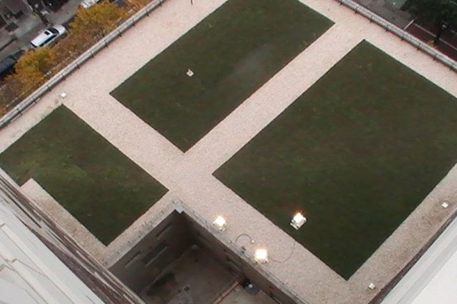 Aerial View of Northeast Quadrant Showing New 4th Floor Green Gardens and Surrounding Ballasted Roof Areas
