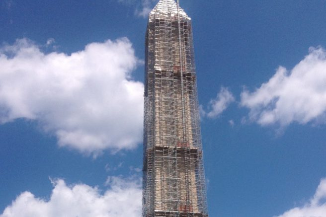 Scaffolded Washington Monument During Current Earthquake Repair Project